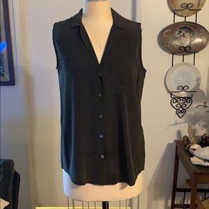 Equipment black sleeveless silk blouse
